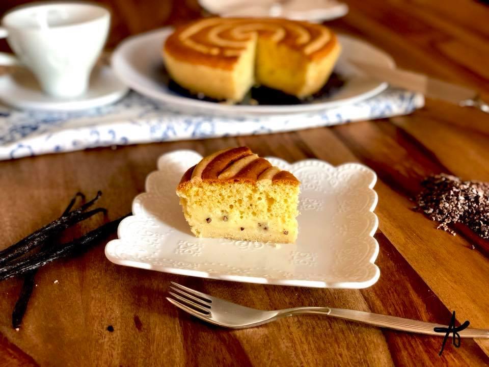 slice of vortex pie with cream