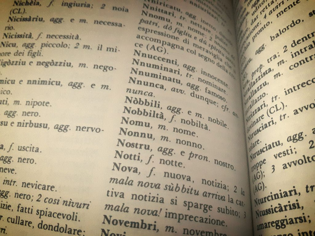 page of a Sicilian dialect vocabulary