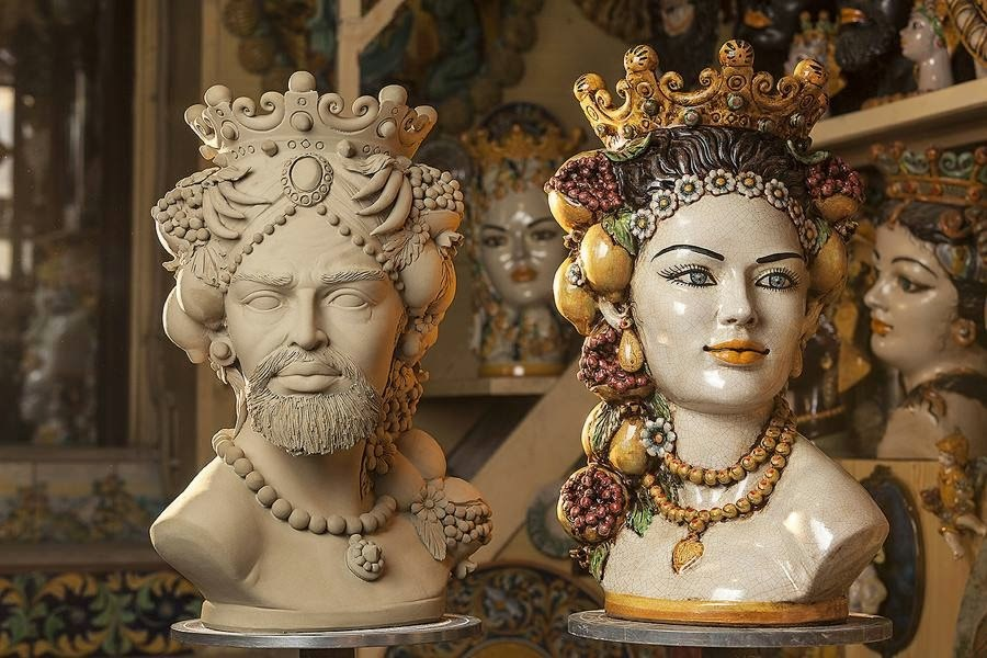 The Moor's heads made in Sicilian craft workshops