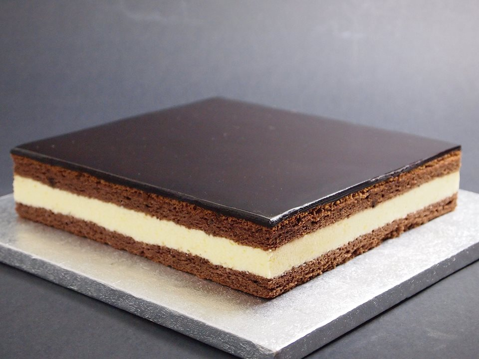 chocolate and lemon cake on plate
