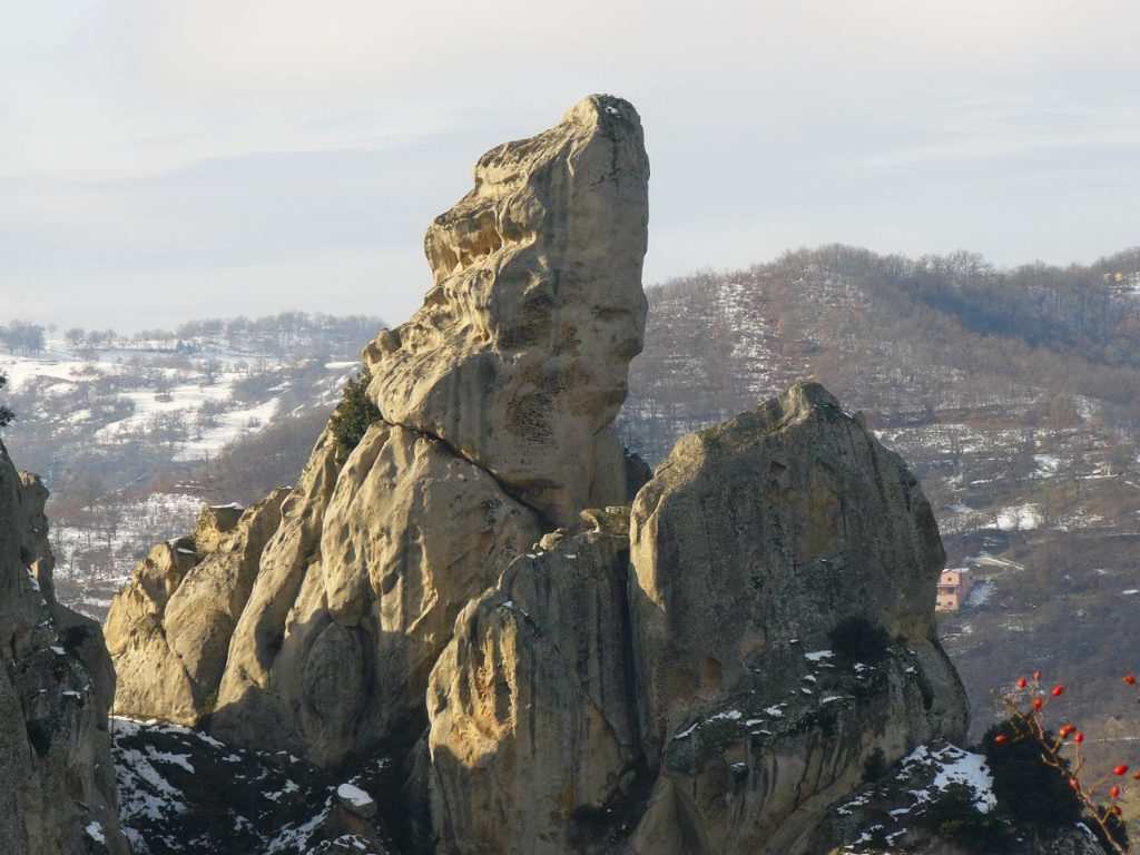 little lucanian dolomites: Rocky spire whose shape resembles a human face