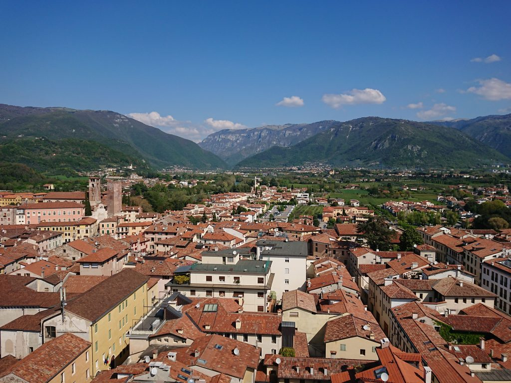view of the civic tower of Bassano del Grappa