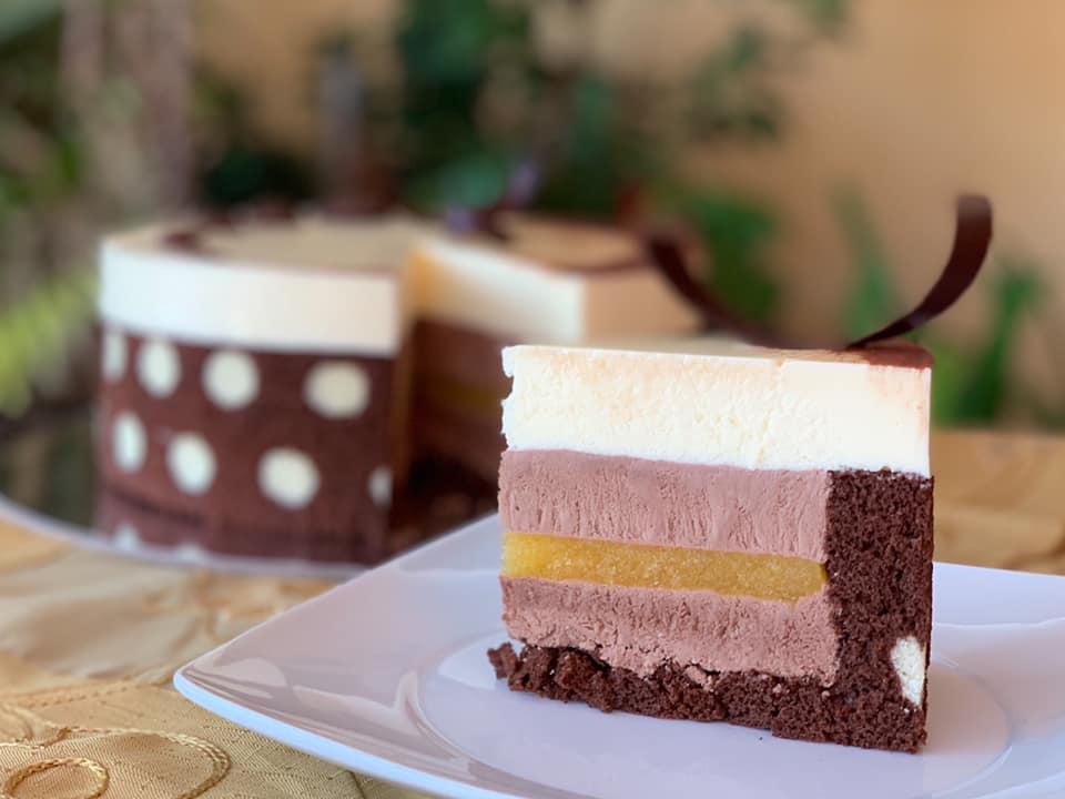 slice of polka dot cake on plate