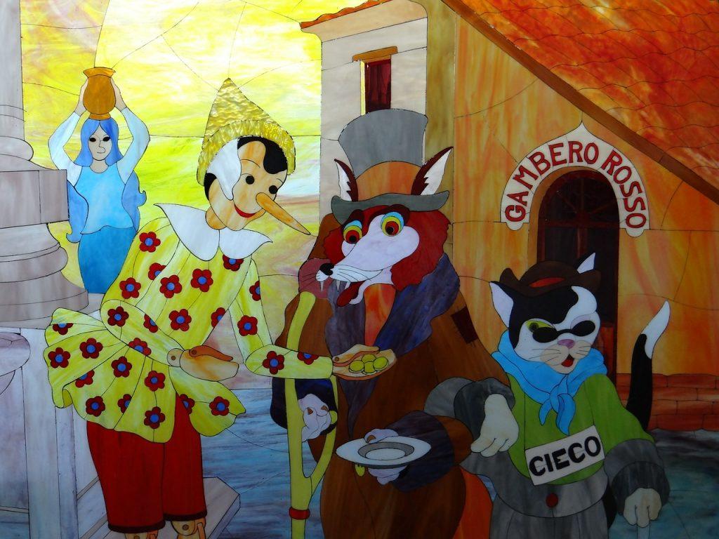 Pinocchio. Illustrazione a colori del Gatto e la Volpe