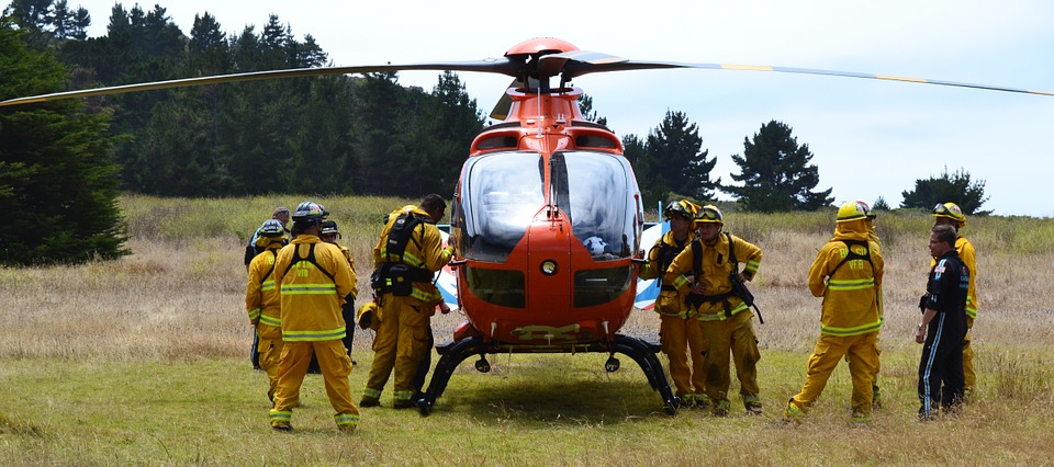 helicopter on the ground for rescue