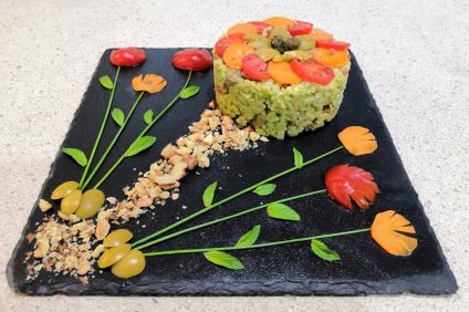 composition of the rice salad among flowers
