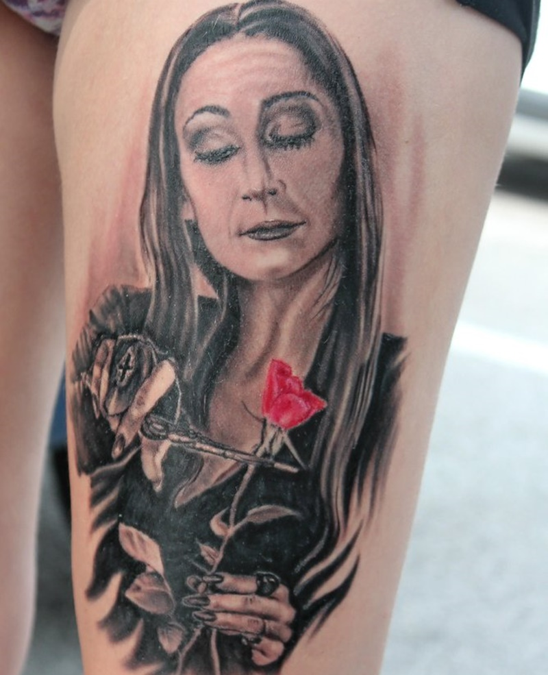 Torino tattoo convention -Morticia's tattoo photo