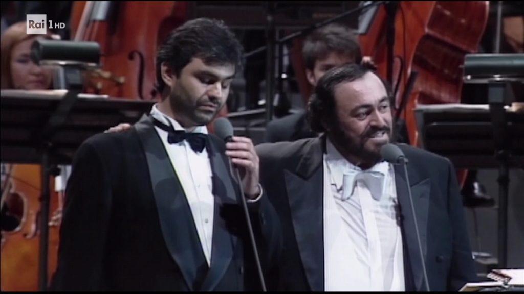Andrea Bocelli insieme a Pavarotti