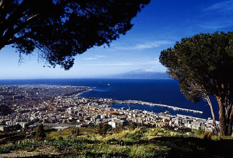The view of Reggio Calabria and the Strait of Messina