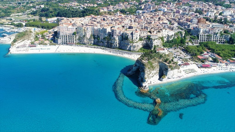 The Tropea beach seen from above, one of the most beautiful areas of Calabria