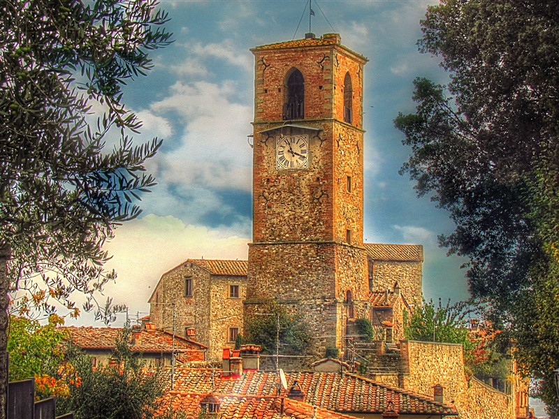 Clock tower of the village of Anghiari