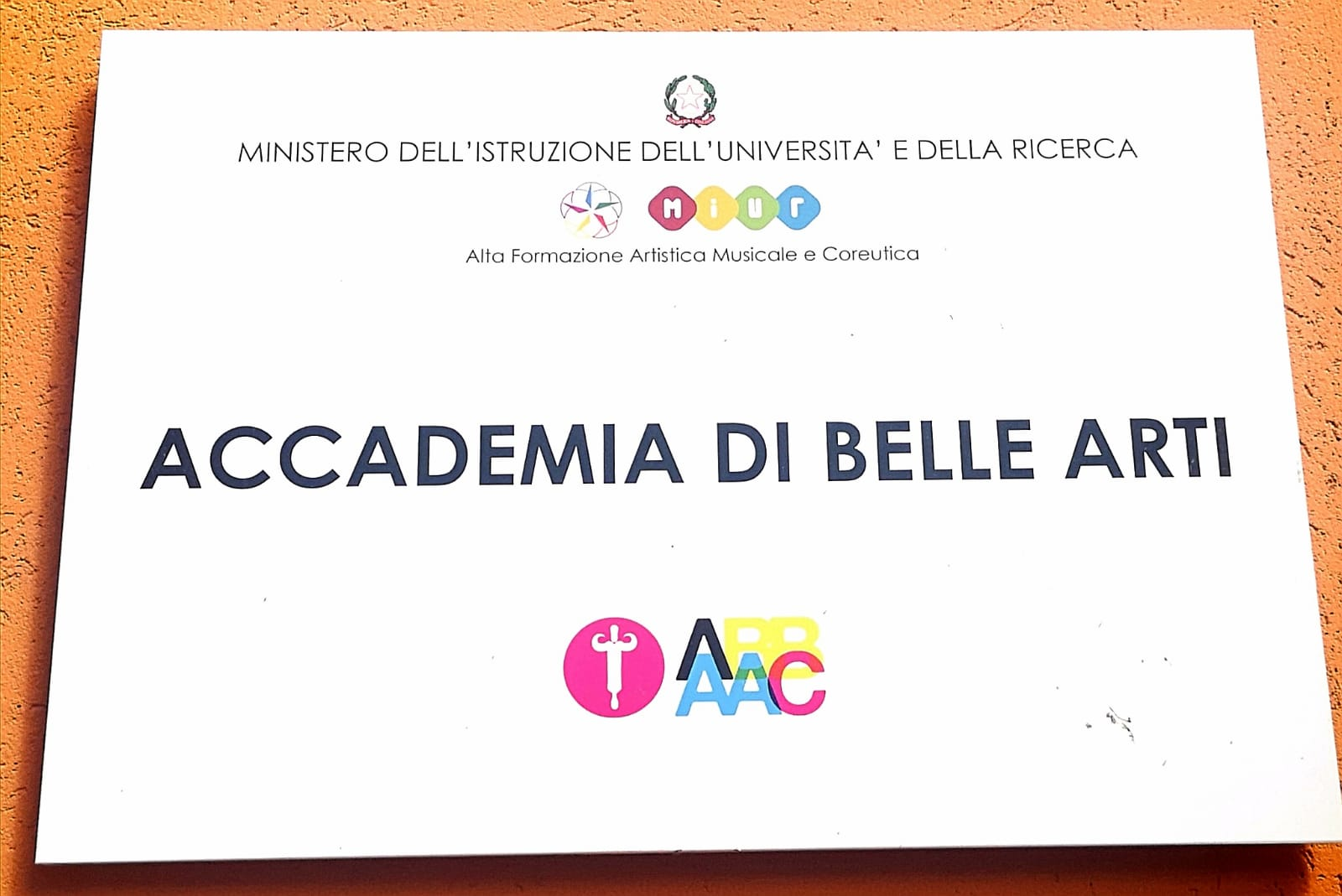 colorful sign of the Academy of Fine Arts of Catanzaro