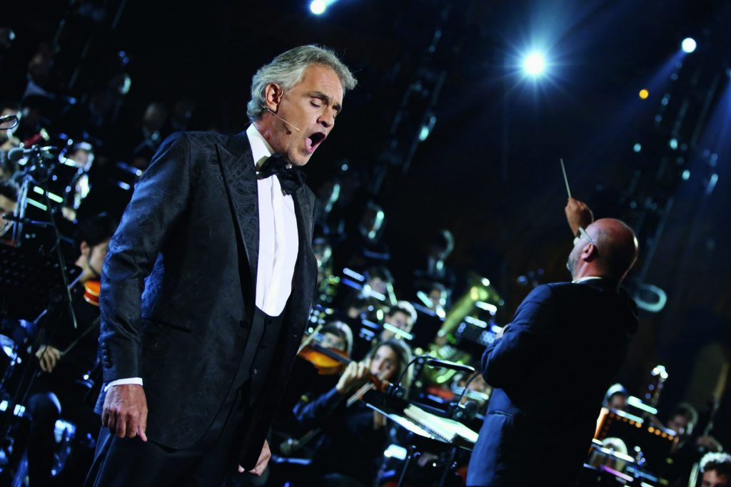 Andrea Bocelli who sings one of his lyric pieces