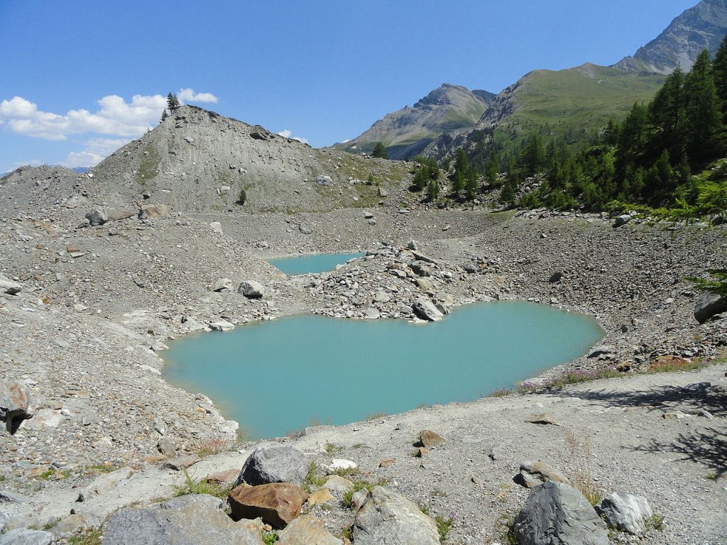 Miage lake.The basin is almost waterless during the summer