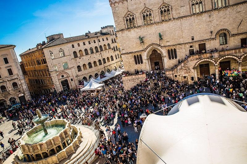La piazza di Perugia dove si svolgerà l'Eurochocolate