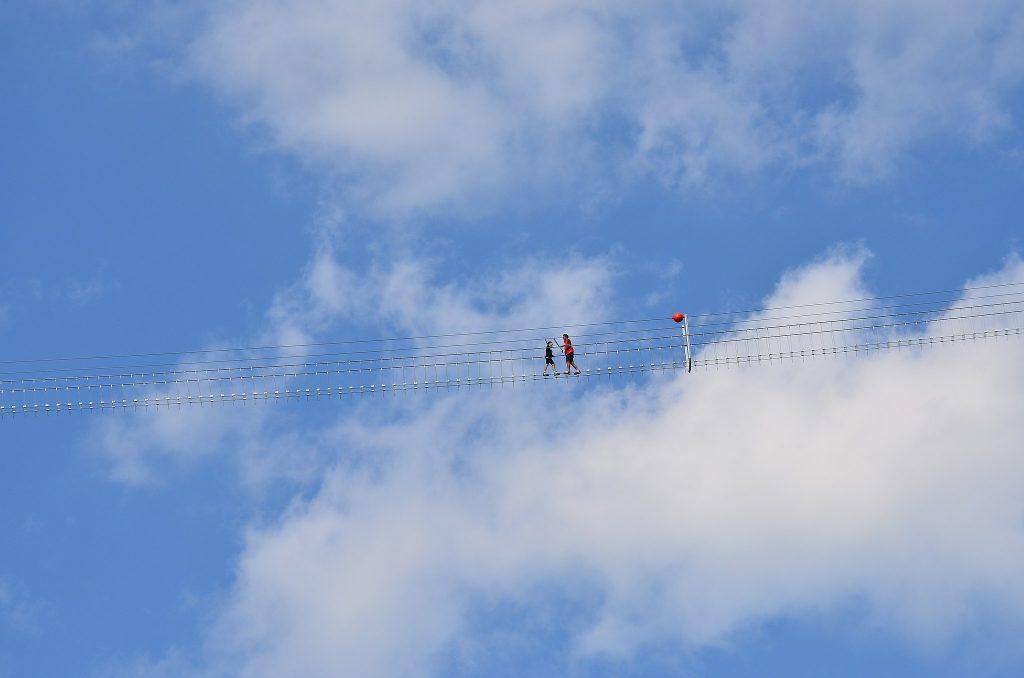 Sasso di Castalda. The Tibetan bridge suspended in the void in the province of Potenza