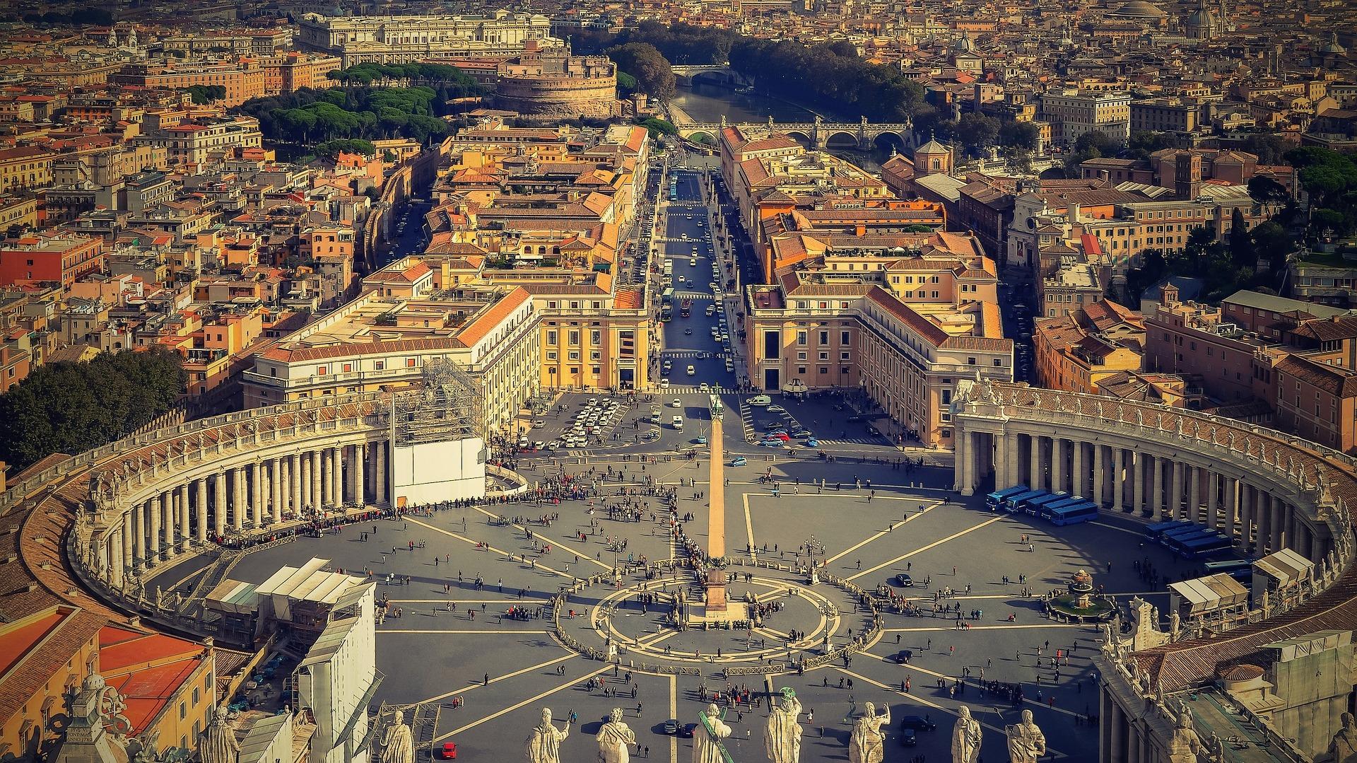 Sistine Chapel. View of the Piazza di San Pietro, Rome