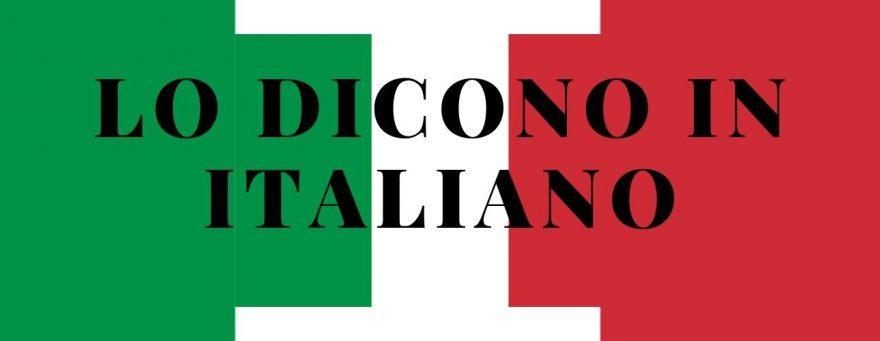 "Italian words - Italian flag inside with the inscription: ""I say in Italian"""