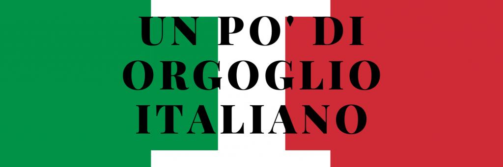 bandiera italiana con la scritta : un pò di orgoglio italiano