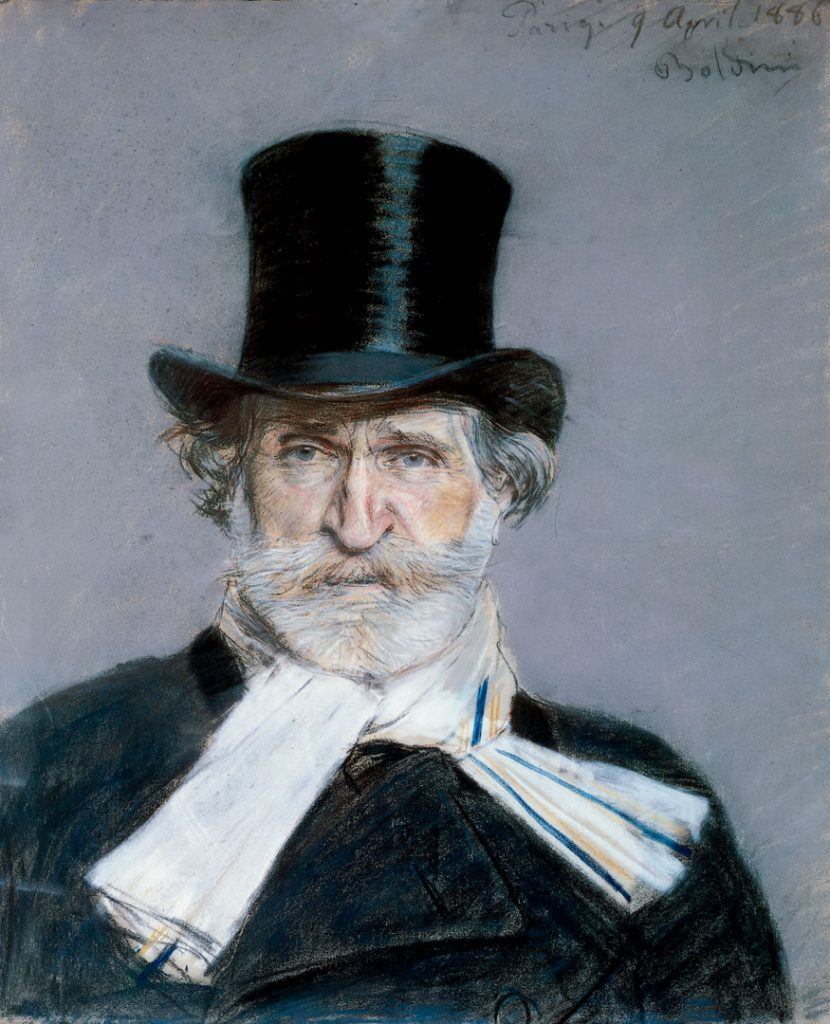 photo of giuseppe verdi with hat and white scarf