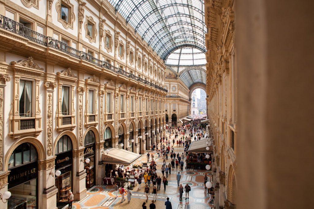 Luisa Spagnoli, the historic workshop in Milan, Galleria Vittorio Emanuele