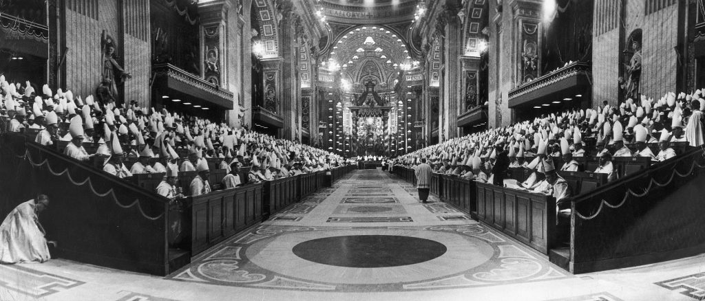 a vintage photo of the work of the Vatican council II