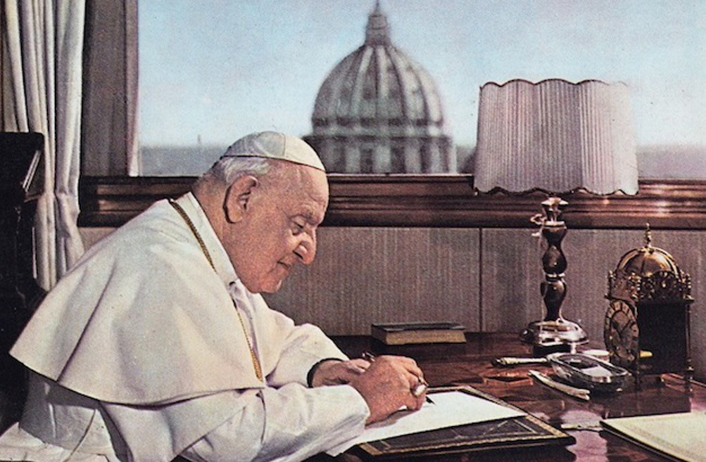 angelo roncalli, pope John XXIII while writing