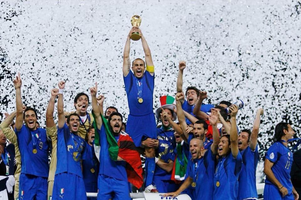 Fabio Cannavaro with the cup in his hands