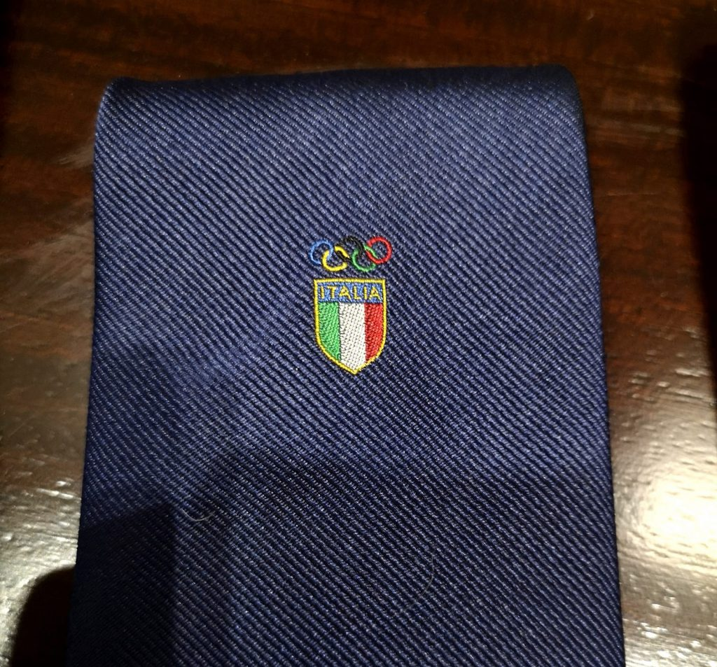 E Marinella tie with Italian flag emblem