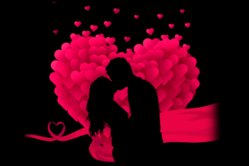love between man and woman - image of a heart of balloons with inside un uomo ed una donna che si baciano