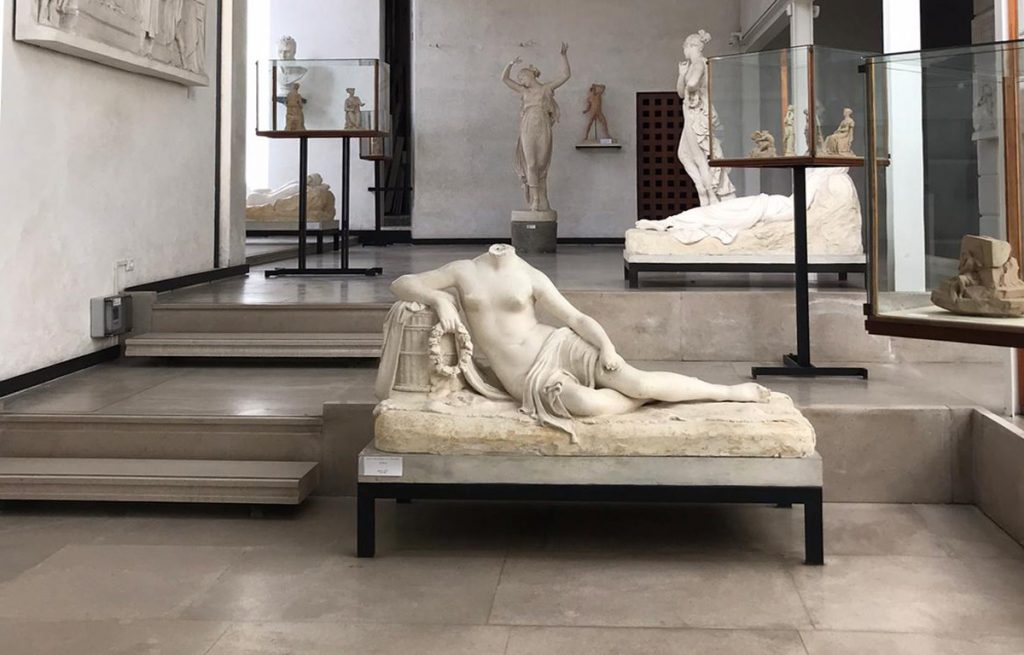 space with neoclassical plaster sculptures