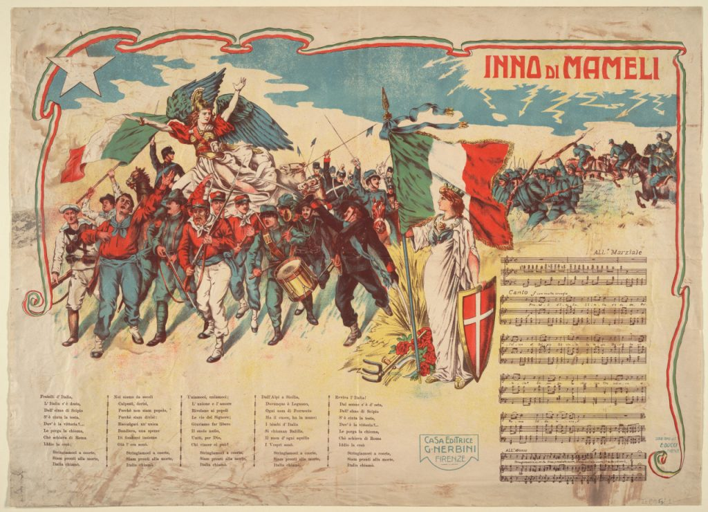 Mameli's anthem. antique poster with text of the Song of the Italians