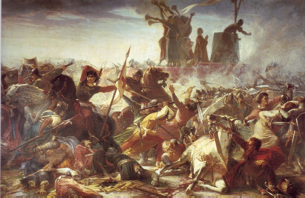 italian national anthem. Painting depicting the Battle of Legnano against Federico Barbarossa