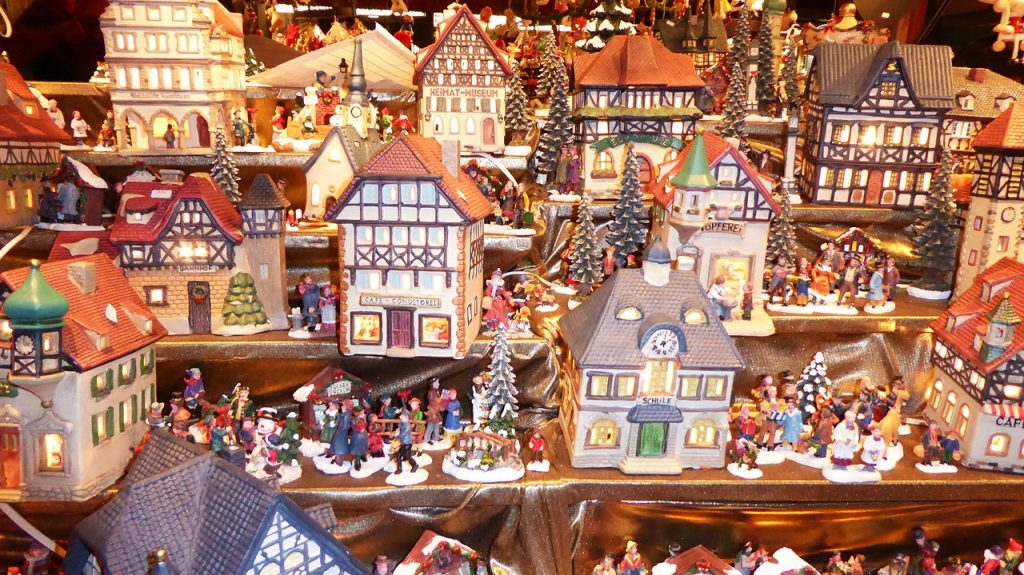 Christmas village - models of colorful Christmas houses
