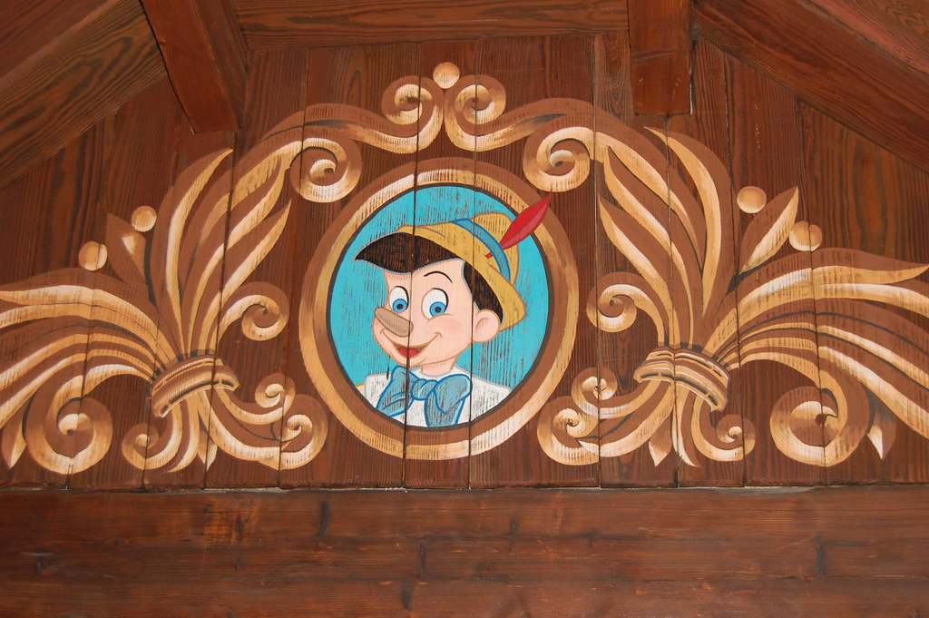 pinocchio painted on a wall