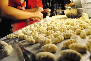 freshly prepared and stretched dumplings