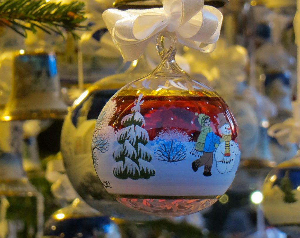 Christmas village - decorated glass ball