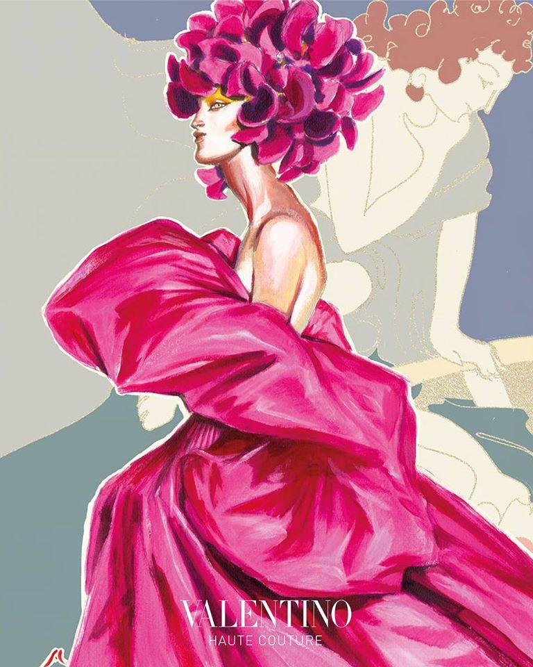 Valentino - Stylized portrait of a woman in a fuchsia dress