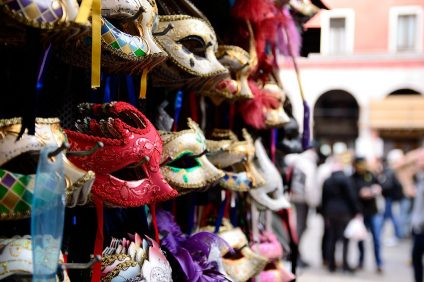 Masks on the stalls at the Carnival of Venice