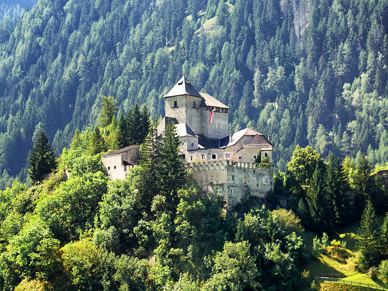 Vipiteno. Ithe Castle of Tasso among the hilly vegetation
