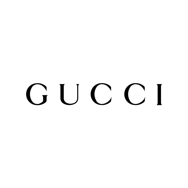 Gucci logo on a white background