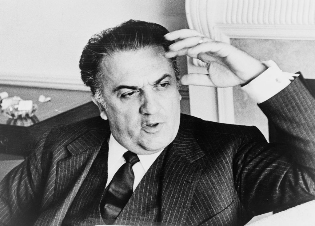 black and white photo of Federico Fellini