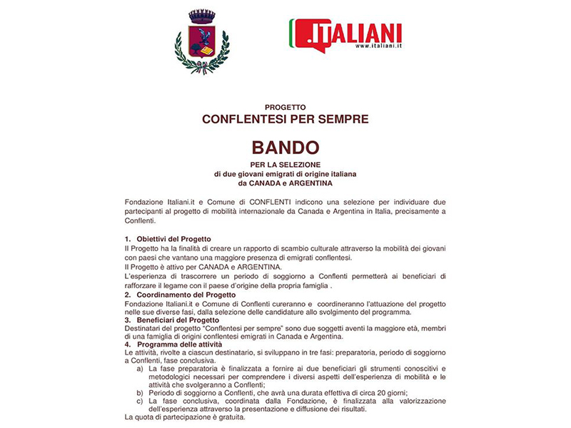 italians: the notice of Conflentesi per sempre