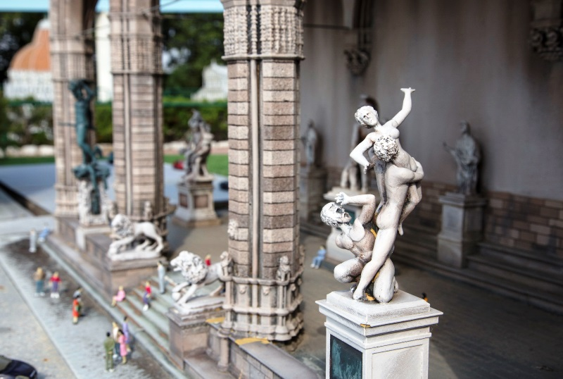 Italy in miniature, some details of the statues