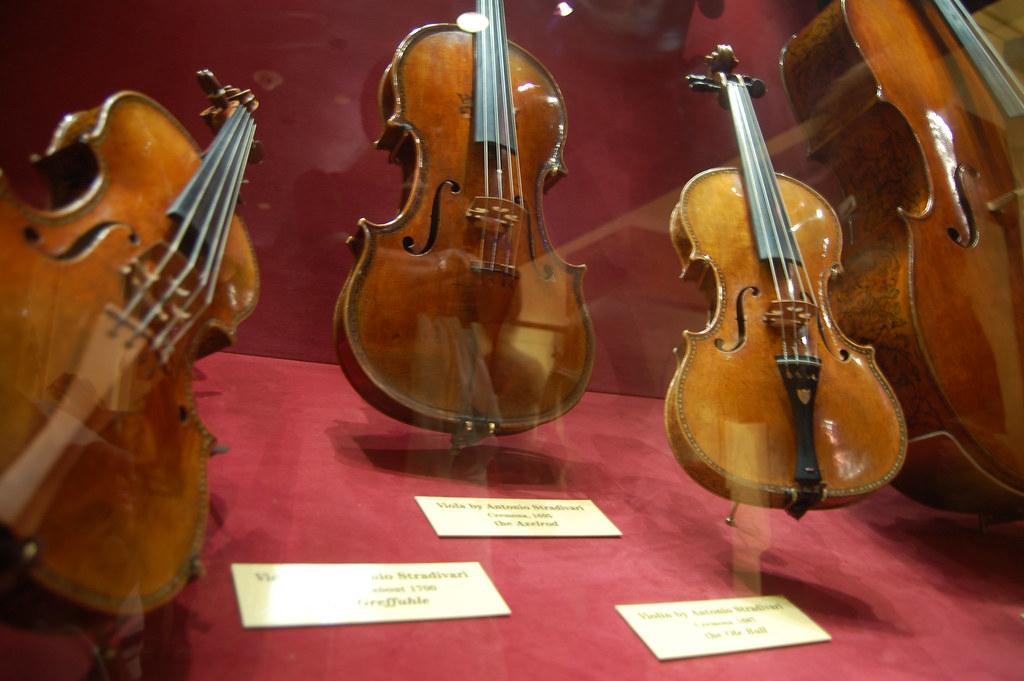 three stradivari violins on display