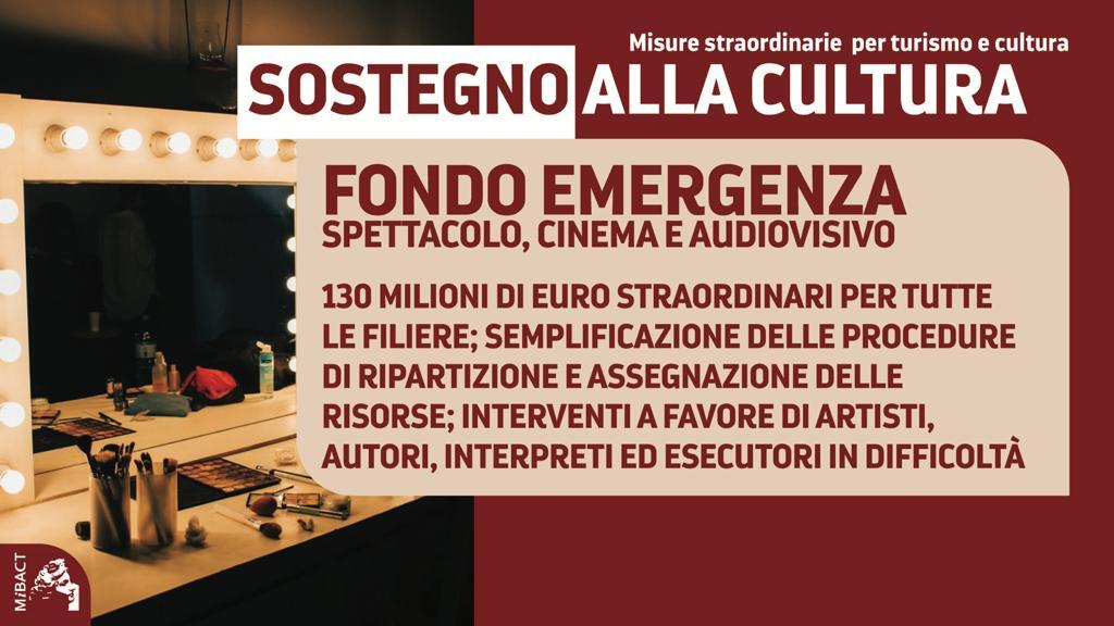 Turismo e Cultura - Fondo emergenza per spettacolo, cinema e audiovisivo