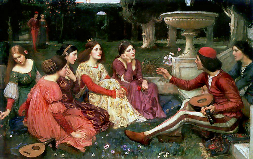 "Dipinto di John William Waterhouse, ""A Tale from Decameron"""