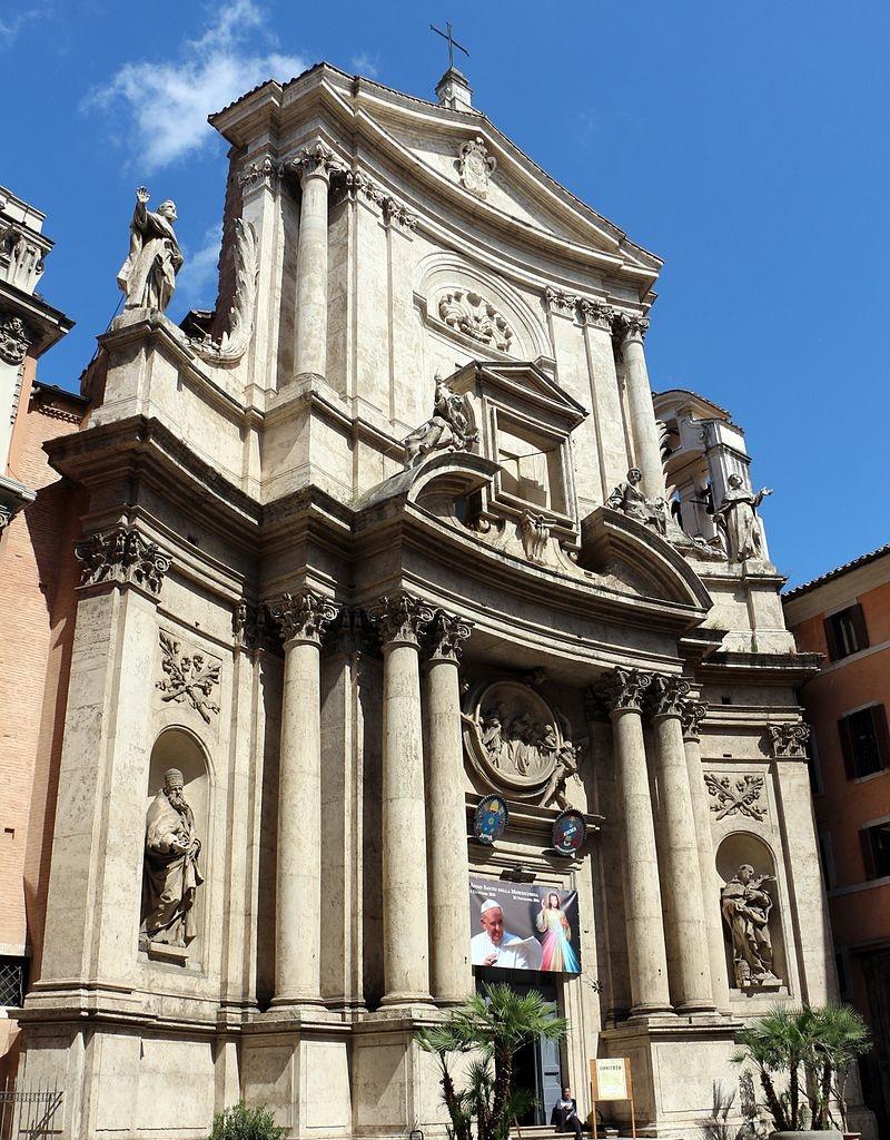 The miraculous crucifix  il crocefisso miracoloso di Roma - la facciata della chiesa di San Marcello