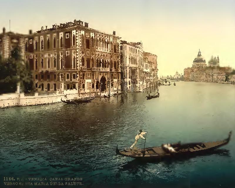 acquerello rappresentante canal grande a venezia con una gondola