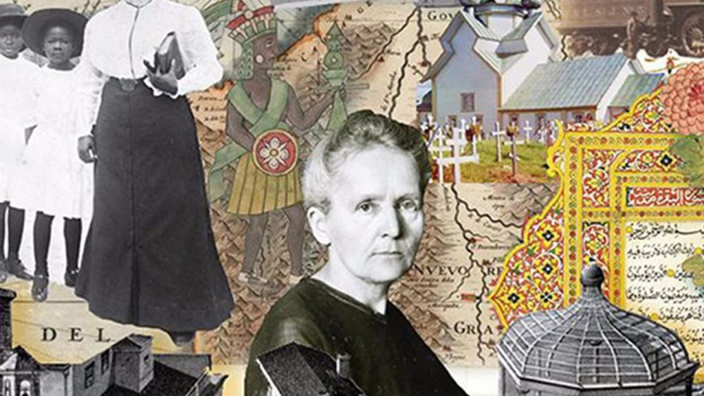 collage di immagini disegni e mappe storiche